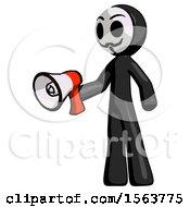 Black Little Anarchist Hacker Man Holding Megaphone Bullhorn Facing Right