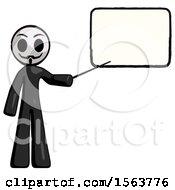 Black Little Anarchist Hacker Man Giving Presentation In Front Of Dry Erase Board