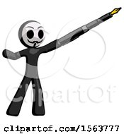 Black Little Anarchist Hacker Man Pen Is Mightier Than The Sword Calligraphy Pose