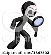 Black Little Anarchist Hacker Man Inspecting With Large Magnifying Glass Right by Leo Blanchette