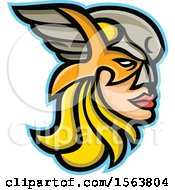 Clipart Of A Valkyrie Mascot Face In Profile Royalty Free Vector Illustration by patrimonio