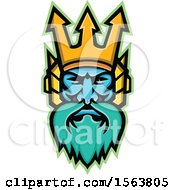 Clipart Of A Mascot Of Poseidon Royalty Free Vector Illustration