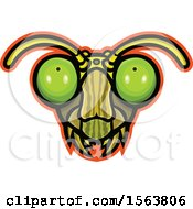 Clipart Of A Praying Mantis Mascot Head Royalty Free Vector Illustration
