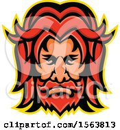 Clipart Of A Face Of Baldr Royalty Free Vector Illustration