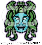 Clipart Of A Snake Haired Medusa Gorgon Mascot Head Royalty Free Vector Illustration