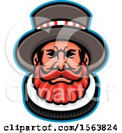 Clipart Of A Beefeater Mascot Face Royalty Free Vector Illustration