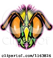 Clipart Of A Honey Bee Mascot Head Royalty Free Vector Illustration