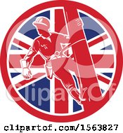 Clipart Of A Retro Power Lineman On A Pole In A Union Jack Flag Circle Royalty Free Vector Illustration