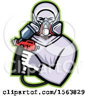 Clipart Of A Retro Male Worker Holding A Spray Painting Gun Royalty Free Vector Illustration
