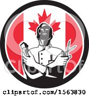 Clipart Of A Retro Woodcut Barber Holding Scissors And Clippers In A Canadian Flag Circle Royalty Free Vector Illustration