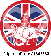 Clipart Of A Retro Woodcut Barber Holding Scissors And Clippers In A Union Jack Flag Circle Royalty Free Vector Illustration