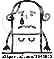 Clipart Of A Crying Stick Woman Royalty Free Vector Illustration