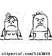 Clipart Of A Mad Or Mean Stick Couple Royalty Free Vector Illustration