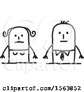 Clipart Of A Nervous Stick Couple Royalty Free Vector Illustration