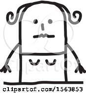 Clipart Of A Nervous Stick Woman Royalty Free Vector Illustration