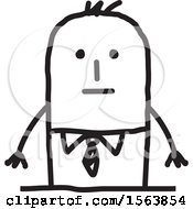 Clipart Of A Nervous Stick Man Royalty Free Vector Illustration