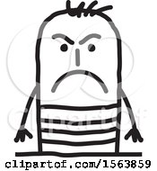 Clipart Of A Mad Or Mean Stick Man Royalty Free Vector Illustration