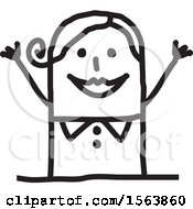 Clipart Of A Cheering Or Welcoming Stick Woman Royalty Free Vector Illustration