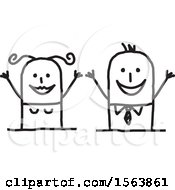 Clipart Of A Cheering Excited Stick Couple Royalty Free Vector Illustration