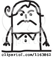 Clipart Of A Mad Or Mean Stick Woman Royalty Free Vector Illustration