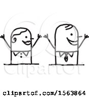 Clipart Of A Cheering Or Welcoming Stick Couple Royalty Free Vector Illustration