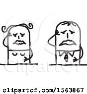Clipart Of A Grieving Stick Couple Royalty Free Vector Illustration