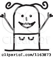 Clipart Of A Cheering Excited Stick Woman Royalty Free Vector Illustration
