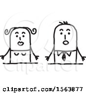 Clipart Of A Surprised Stick Couple Royalty Free Vector Illustration