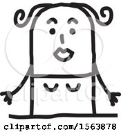 Clipart Of A Surprised Stick Woman Royalty Free Vector Illustration