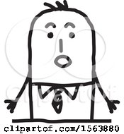 Clipart Of A Surprised Stick Man Royalty Free Vector Illustration