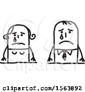 Clipart Of A Crying Stick Couple Royalty Free Vector Illustration
