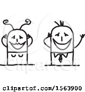 Clipart Of A Gushing Stick Couple Royalty Free Vector Illustration