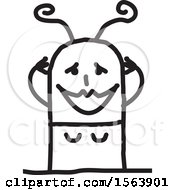 Clipart Of A Gushing Stick Woman Royalty Free Vector Illustration