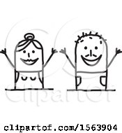 Clipart Of A Cheering Stick Couple Royalty Free Vector Illustration