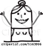 Clipart Of A Cheering Stick Woman Royalty Free Vector Illustration