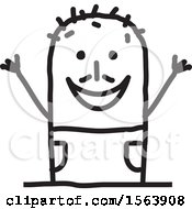 Clipart Of A Cheering Stick Man Royalty Free Vector Illustration