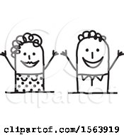 Clipart Of A Welcoming Stick Couple Royalty Free Vector Illustration