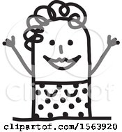 Clipart Of A Welcoming Stick Woman Royalty Free Vector Illustration