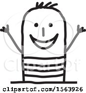 Clipart Of A Cheering Summer Man Royalty Free Vector Illustration