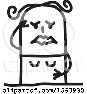 Clipart Of A Grieving Stick Woman Royalty Free Vector Illustration