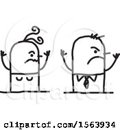 Clipart Of A Furious Stick Couple Royalty Free Vector Illustration
