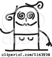 Clipart Of A Drunk Stick Woman Royalty Free Vector Illustration