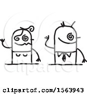 Clipart Of A Drunk Stick Couple Royalty Free Vector Illustration
