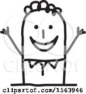 Clipart Of A Welcoming Stick Man Royalty Free Vector Illustration