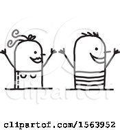 Clipart Of A Cheering Summer Couple Royalty Free Vector Illustration