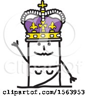 Clipart Of A Stick Woman Queen Waving Royalty Free Vector Illustration