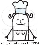 Clipart Of A Happy Stick Chef Woman Royalty Free Vector Illustration