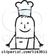 Clipart Of A Happy Stick Chef Man Royalty Free Vector Illustration