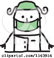 Clipart Of A Happy Stick Surgeon Woman Royalty Free Vector Illustration
