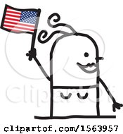 Happy Stick Woman Waving An American Flag